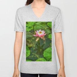 Waterlily and Lilypads Unisex V-Neck