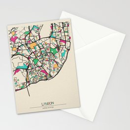 Colorful City Maps: Lisbon, Portugal Stationery Cards