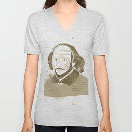 Portrait of William Shakespeare-Hand drawn-Vintage Unisex V-Neck