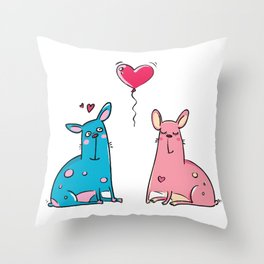 LOVE Blue and Pink Dog Throw Pillow