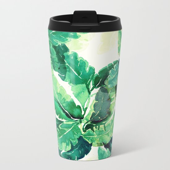 green summer leaves Metal Travel Mug