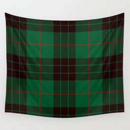Dark Green Tartan with Black and Red Stripes. Large-Scale Plaid Pattern. Wall Tapestry