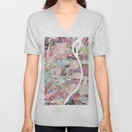 Saint Louis map flowers Unisex V-Neck