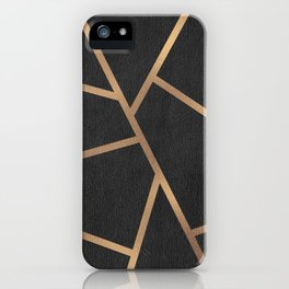 Dark Grey and Gold Textured Fragments - Geometric Design iPhone Case