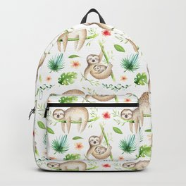 Modern hand painted green brown watercolor tropical floral sloth Backpack