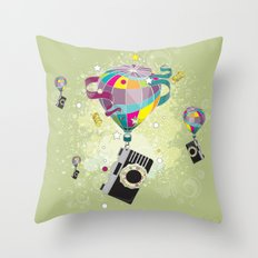 Traveling camera Throw Pillow