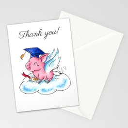 Winged Piggy Grad Stationery Cards
