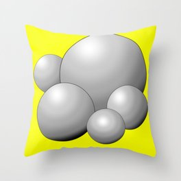 Silver Balls with Yellow Background Throw Pillow