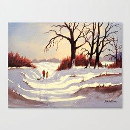 Sledding At Christmas Time Canvas Print