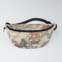 Pictorial Celestial Map with Constellations Gemini, Orion, Taurus, Cancer Fanny Pack
