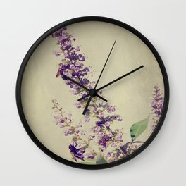 Texas Lilac and Bees Wall Clock