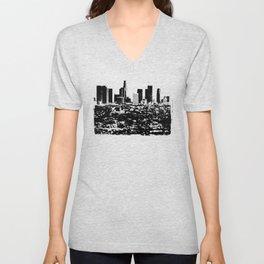 Downtown Los Angeles Skyline - Stamp Pattern on Light Blue Unisex V-Neck