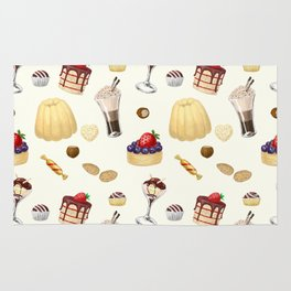 Sweet pattern with various desserts. Rug