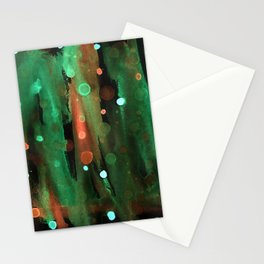 abstract painted watercolor mint coral brush and dots on black background Stationery Cards