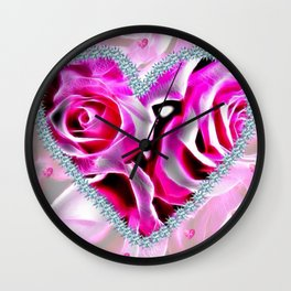 Sparkling heart of roses Wall Clock