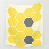 honeycomb Wall Tapestries featuring Yellow Honeycomb by Cassia Beck