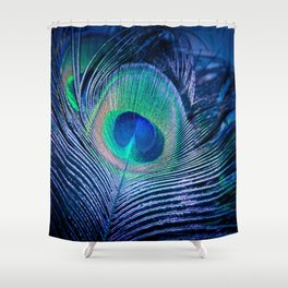 Peacock Feather Blush Shower Curtain