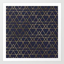 Modern Gold Navy Blue Art Print