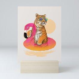 Chillin (Flamingo Tiger) Mini Art Print