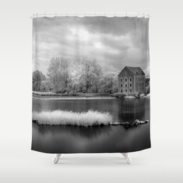 France, A Weir on the Mayenne River (version 2) Shower Curtain