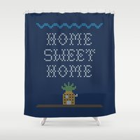 home sweet home Shower Curtains featuring Home Sweet Home by Phil Jones
