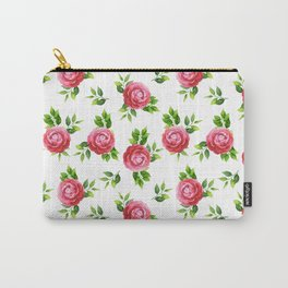 Elegant red pink green watercolor hand painted camellia Carry-All Pouch