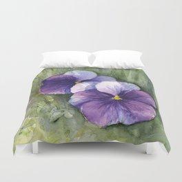 Purple Pansies Watercolor Flowers Painting Violet Floral Art Duvet Cover