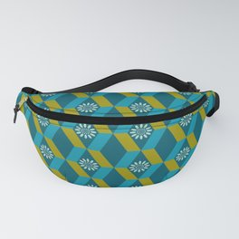 Mid Century Modern Flowers Optical Illusion Dark Teal Turquoise and Marigold Fanny Pack