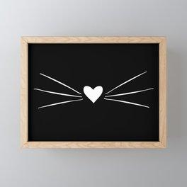 Cat Heart Nose & Whiskers White on Black Framed Mini Art Print