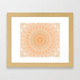 Orange Tangerine Mandala Detailed Textured Minimal Minimalistic Framed Art Print