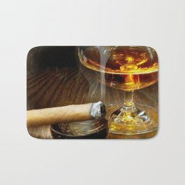 Cigar And Cordial Painting Foodie Cigar Lover Smoking Smoker Bath Mat