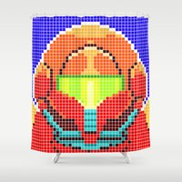 metroid Shower Curtains featuring Metroid Tiles by James Brunner
