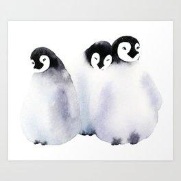 Fluffy Penguins - Baby Animals Art Print