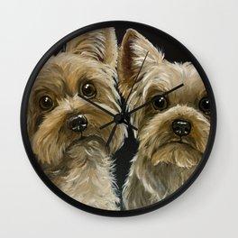 Yorkie Painting, Cute Yorkie's, Pet Art Wall Clock