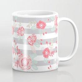 Elli - gender neutral florals grey stripe pattern modern nursery home decor Coffee Mug