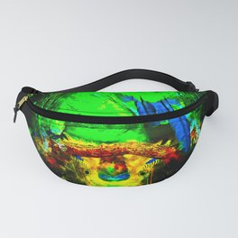 budgie hangs upside down on the branch splatter watercolor Fanny Pack