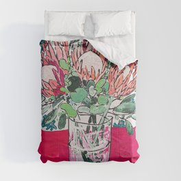 Bouquet of Proteas with Matisse Cutout Wallpaper Comforters