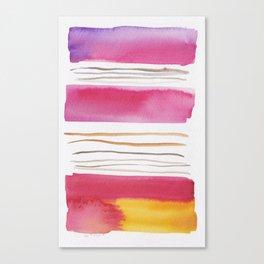 19   |181026 Lines & Color Block | Watercolor Abstract | Modern Watercolor Art Canvas Print