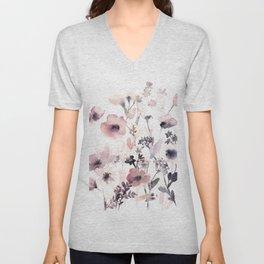 Pink purple flowers Unisex V-Neck