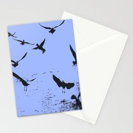 Silhouette Of A Flock Of Seagulls Over Water Vector Stationery Cards