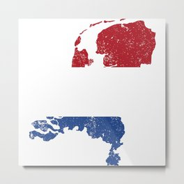 Distressed Netherlands Map Metal Print