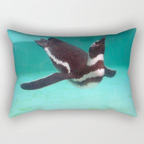 Penguin Swim Rectangular Pillow