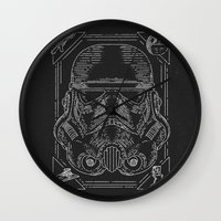 storm trooper Wall Clocks featuring Storm Trooper by Jon Deviny