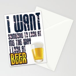i look beer- I love beer Stationery Cards