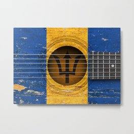 Old Vintage Acoustic Guitar with Barbados Flag Metal Print