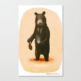 Monday Bear Canvas Print