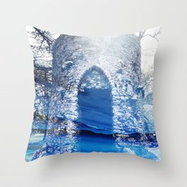 Blue Castle Throw Pillow