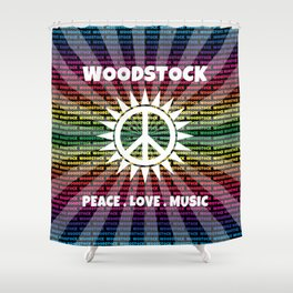 Woodstock Peace Love Music Hippie Festival Shower Curtain