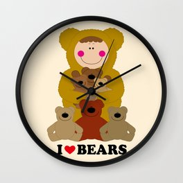 I♥BEARS Wall Clock