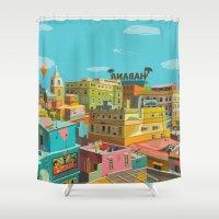hemingway Shower Curtains featuring Habana by Zsolt Vidak